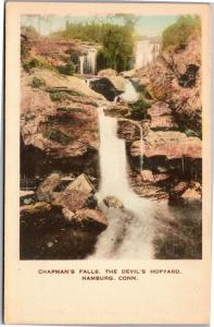 Chapman's Falls, Devil's Hopyard, Hamburg CT Hand Colored Vintage Postcard L18