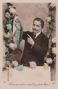 1er Avril April Fool's Day Man Holding Fish