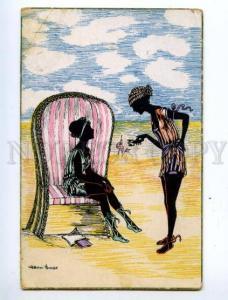 150344 ART DECO Silhouette Belle on Beach by GROSZE vintage PC