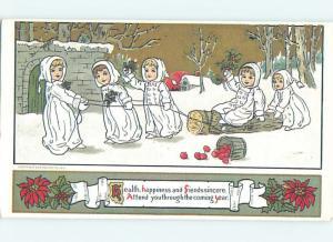 Reproduction 1980 Version Of 1912 Card - Kids Pull Log Thru Snow o7051