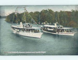 Divided-Back PAIR OF STEAMER FERRY BOATS Thousand Islands New York NY hp4874