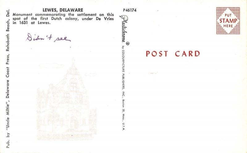Lewes Delaware~First Dutch Colony Monument~Homes Behind~1950s Postcard