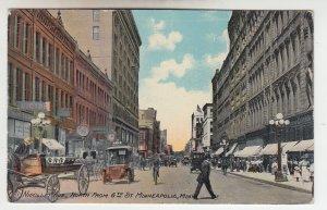 P2058 1911 postcard horses &wagons cars people etc nieollet ave minneapolis minn