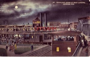 MOONLIGHT SCENE AT BOAT LANDING, OSHKOSH, WI 1914