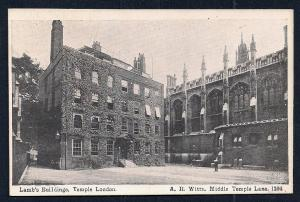 Lamb's Building Middle Temple Lane London unused c1920's