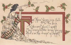 NEW YEAR ; Girl sipping cup , 1909 ; HBG