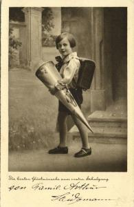 First Schoolday, Young Girl with School Cone (1910s) Postcard