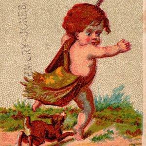 1870's Rabbit Chasing Child Rasin's Dissolved Bone Fertilizer Baltimore Maryland