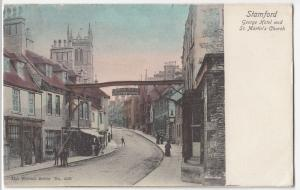 Lincolnshire; Stamford, George Hotel & St Martins Church PPC, Leicester 1905 PMK