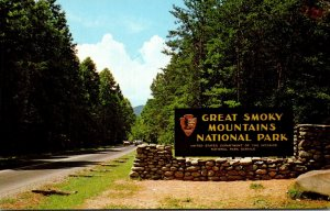 Tennessee Gatlinburg Great Smoky Mountains National Park Entrance Sign