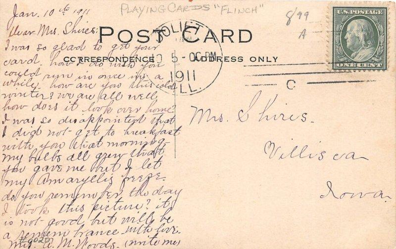 DR1/ Interesting RPPC Postcard Joliet Illinois 1911 Women Playing Cards