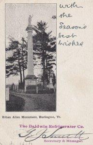 BURLINGTON, Vermont, PU-1904; Ethan Allen Monument