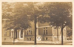Coldwater MI~Bicycle Leaning Against Courthouse by Little K Shed~RPPC 1940s PC