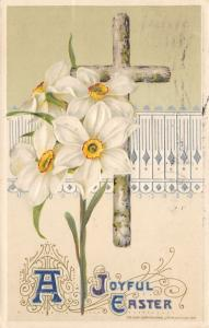 Embossed Joyful Easter Postcard~Flowers & Cross~Postmarked 1912 @ Tiffin Ohio