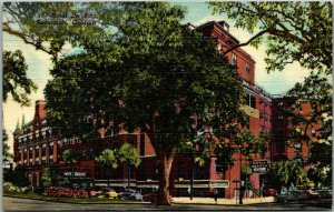 1940s Savannah, Georgia Postcard HOTEL DE SOTO Street View Curteich Linen Unused
