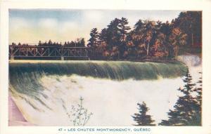 Quebec QC~Chutes Montmorency~Waterfall~Dam~Bridge Above~1950s