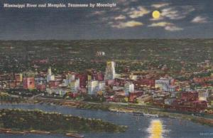 Tennessee Memphis Skyline and Mississippi River By Moonlight Curteich