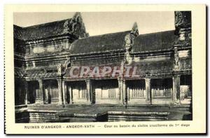 Postcard Ancient Ruins Cambodia Angkor D Angkor Vath Court or cruciform clois...