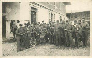 Inter war swiss army military regimental soldiers buddy seat motorcycle postcard