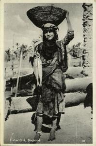 iraq, BAGHDAD, Native Fisher Girl, Head Transport (1930s) Naman No. 123
