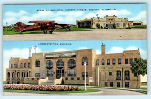 WICHITA, Kansas KS ~ MUNICIPAL AIRPORT HANGAR & Administration Building Postcard