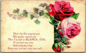 1909 BLANCA, Colorado Greetings Embossed Postcard Pink / Red Roses w/ Cancel
