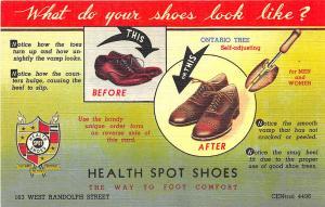 Chicago IL Health Spot Shoe Shop Shoes Curt Teich Linen Postcard