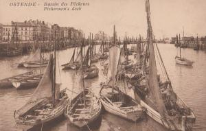 Ostend Ostende Fishermens Dock Fishing Boats Antique Belgium Postcard