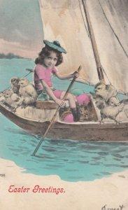 EASTER , 00-10s ; Chicks & Girl in sail boat