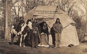 F52/ Missouri RPPC Postcard Native American Indian Family Horse Hut