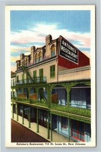 New Orleans LA, Antoine's Restaurant, Linen Louisiana Postcard
