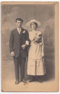 Anonymous Edwardian Couple, Studio Portrait RP PPC, Baldwin Of Bath & Cheltenham