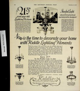 1926 Riddle Decorative Lighting Fitments Vintage Print Ad 4433