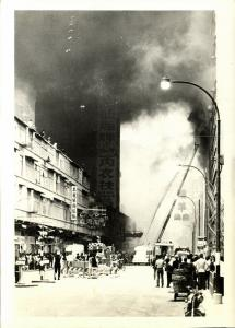 malay malaysia, PENANG, Lot of 6 Real Photos of Fire in an unknown Hotel (1972)