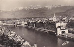 France Grenoble Vue generale et la Chaine des Alpes Real Photo