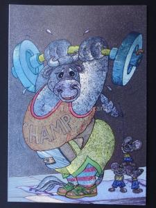 BULL THE WEIGHT LIFTING CHAMP c1980's by F J Warren DUFEX FOIL Postcard 501881