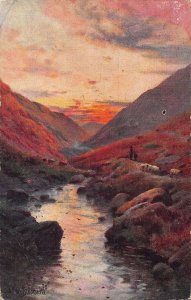 River Rocks Sunset Landscape Painting Art Postcard