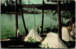 Vintage New York Postcard Camp Scene in Adirondacks 1911 SARANAC LAKE Cancel