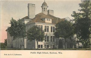 Horicon Wisconsin~Public High School~Cupola~1908 Postcard
