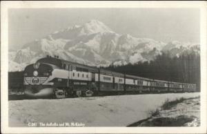 Alaska RR Train The Aurora & Mt. McKinley c1950 Real Photo Postcard
