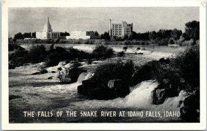 1940s Latter Day Saints Temple Snake River Falls at Idaho Falls Idaho Postcard