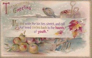 Winsch Thanksgiving Greetings Garden Tools &  Turkey 1910