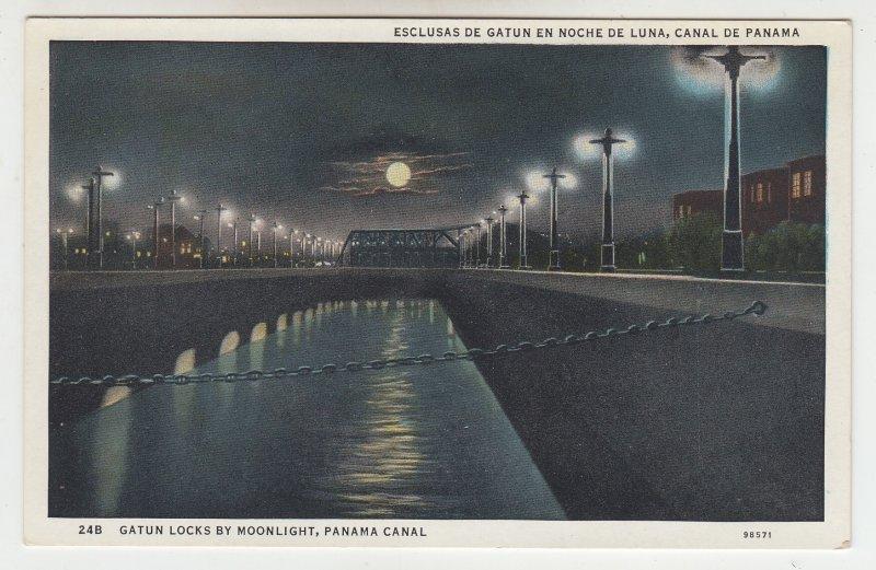 P1990, vintage postcard view gatun locks by moonlight panama canal unused