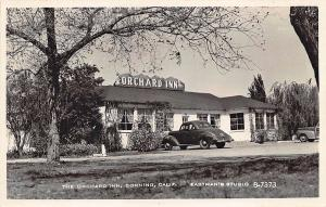 Corning CA The Orchard Inn Drive-In Old Cars Woodie RPPC Postcard