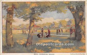 Old Vintage Lawn Bowling Postcard Post Card Men's Recreation Grounds Unused