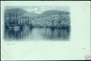 greece, SYRA SYROS, Panorama by Moonlight (ca. 1899)