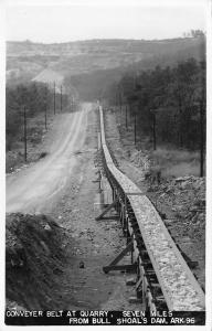 Flippin? nr Shoal's Dam Over White Dam AR Conveyer Belt~Real Photo Postcard 1945