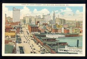 Baltimore, Maryland/MD Postcard, View Of Light Street & Skyline