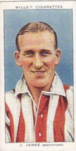 Wills Vintage Cigarette Card Association Footballers No 24 J James Brentford ...
