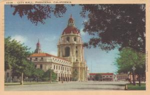 City Hall, Pasadena, California, early postcard, used in 1942